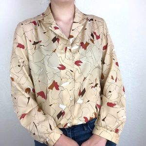 Koret beige button down shirt with abstract design